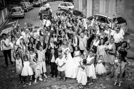 Photographe mariage Toulouse - Groupe noir et blanc complet