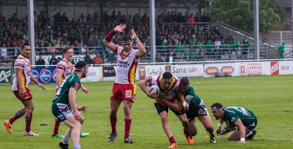 Photo de la demi finale du championnat de France de Rugby à XIII, Lezignan - St Estève 18