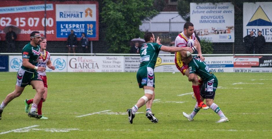 Photo de la demi finale du championnat de France de Rugby à XIII, Lezignan - St Estève 17