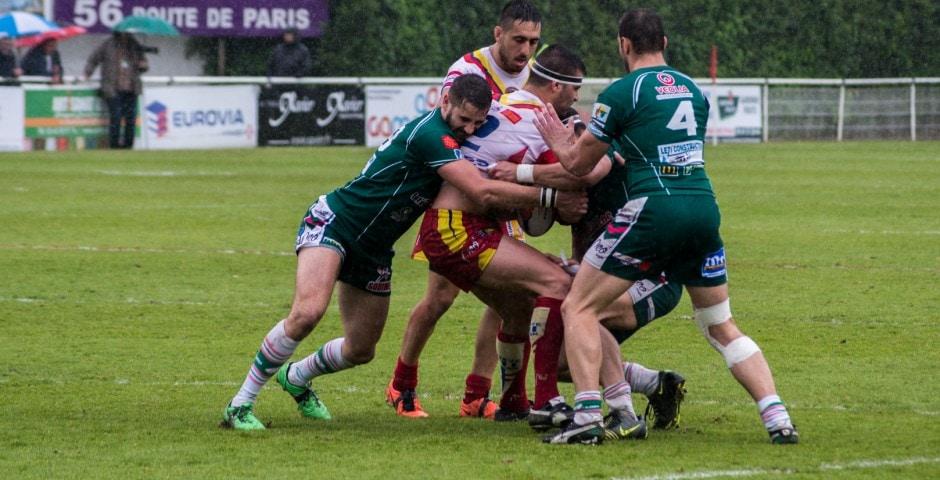 Photo de la demi finale du championnat de France de Rugby à XIII, Lezignan - St Estève 16