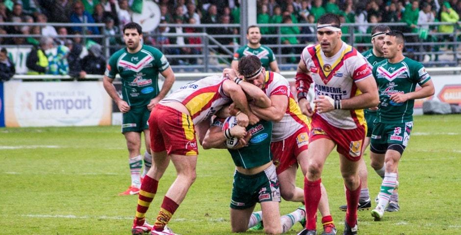 Photo de la demi finale du championnat de France de Rugby à XIII, Lezignan - St Estève 7