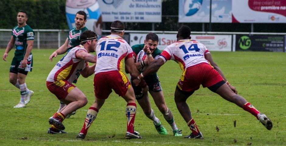Photo de la demi finale du championnat de France de Rugby à XIII, Lezignan - St Estève 5