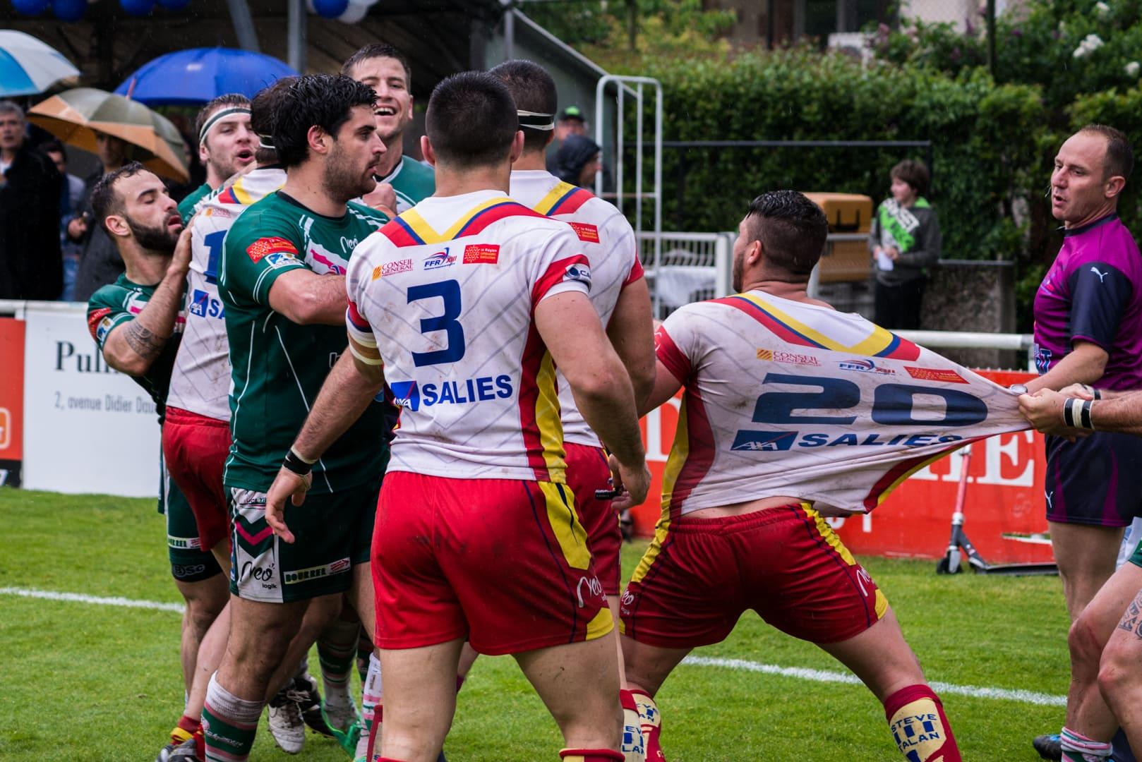 Photo de la demi finale du championnat de France de Rugby à XIII, Lezignan - St Estève 1